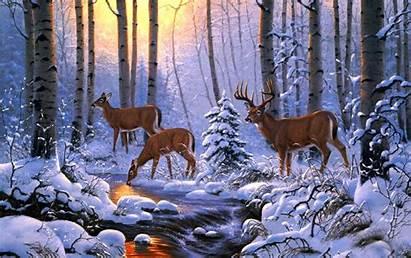 Deer Winter Scene Forest Nature Wildlife Painting