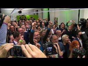 Germany's Green Party celebrate initial exit polls - YouTube