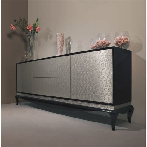 Silver Sideboard by Black Sideboard With 2 Doors And 2 Drawers With Silver Niagara