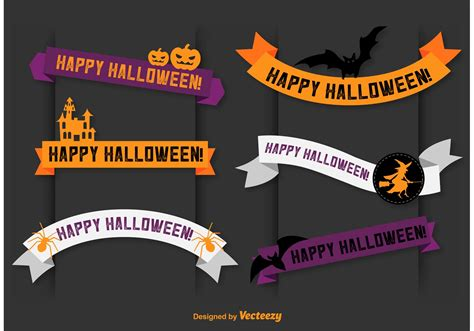 For personal and commercial use. Happy Halloween Vector Banner Ribbons - Download Free ...