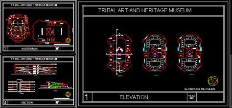 tribal art museum dwg plan  autocad designs cad