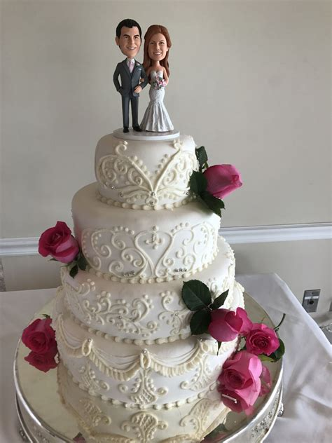 pink rose  white wedding cake cakecentralcom