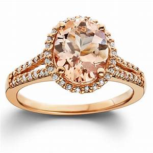 3ct Morganite  U0026 Diamond Engagement Ring 14k Rose Gold Halo