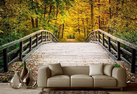 customized  murals wallpaper wooden bridge channel woods