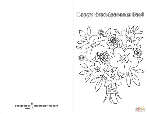 Happy Grandparents Day Card Coloring Page