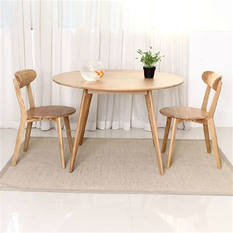 white wood round dining table nordic household solid wood furniture japanese style white