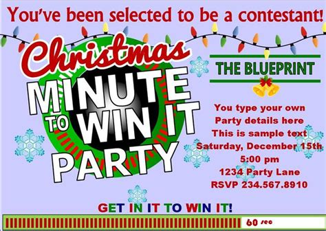 You'll find a link to a blank invite you can use (for free!) at the end of this post. Christmas Minute to Win It Party Supplies and Ideas