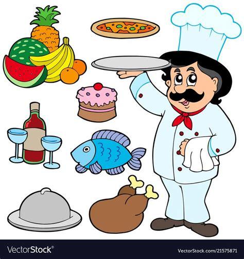 cartoon chef   meals vector image
