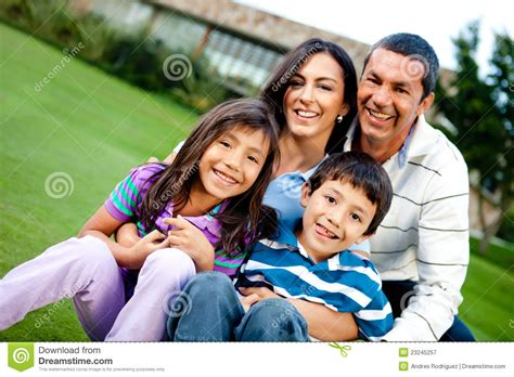 Happy Family Outdoors Stock Image. Image Of Girl, Loving