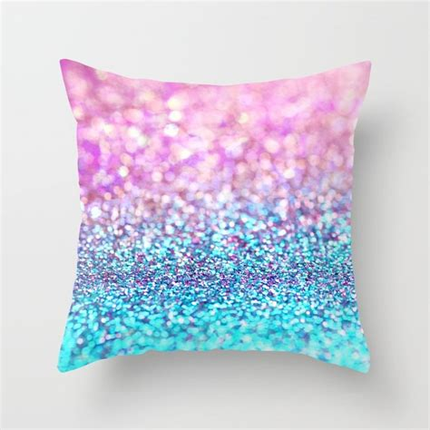 sparkle throw pillows pastel sparkle photograph of pink and turquoise glitter