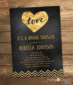 Gold and black bridal shower invitation gold foil love for Black and gold wedding shower invitations