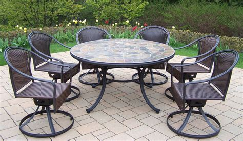 oakland living 7 pc patio dining set w 54 quot topped