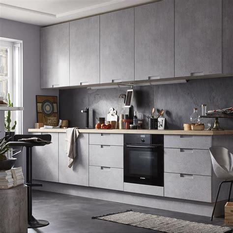 cuisine bois beton meuble de cuisine décor béton delinia berlin leroy merlin