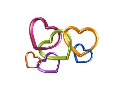 Hearts Connected Linked Chain Colorful Together Friendship