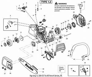 Poulan P3816 Gas Chain Saw Type 2 Parts Diagram For Handle Type 1 2