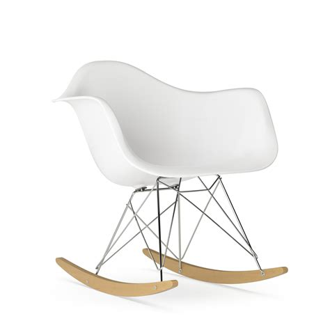 chaise qui se balance vitra eames plastic armchair rar white chrome plated