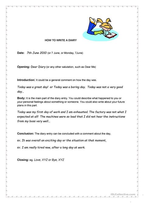 how to write a diary worksheet free esl printable
