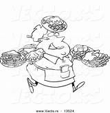 Waitress Plates Many Outline Coloring Carrying Cartoon Fat Female Waiter Toonaday Template Vecto Rs sketch template