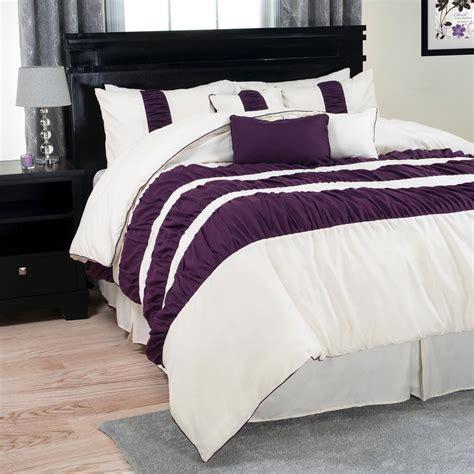 royal comforter sets trademark global prisca royal purple striped 7 comforter set 66 304 q the home depot