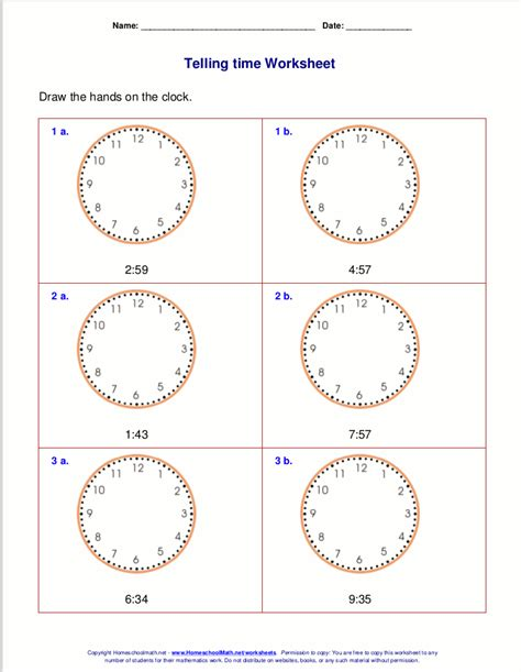 telling time worksheets for 3rd grade school work