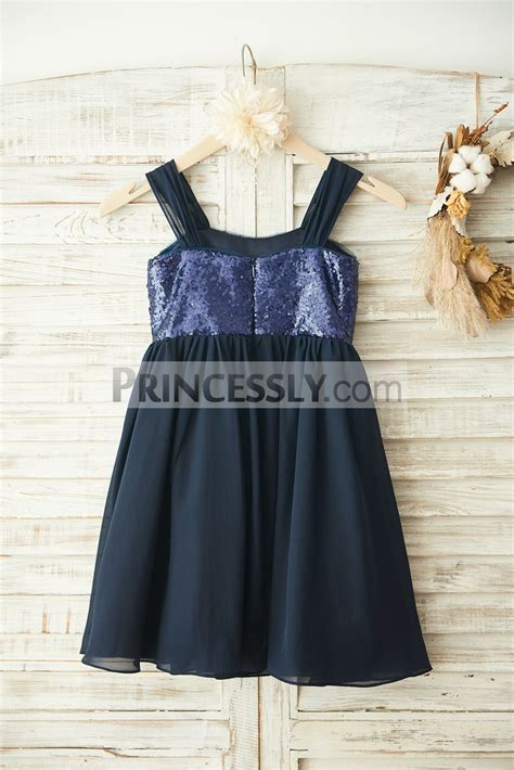 boho navy blue sequins chiffon overlay flower girl dress avivaly