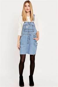 urban renewal vintage re made denim dungaree dress With robe salopette en jean