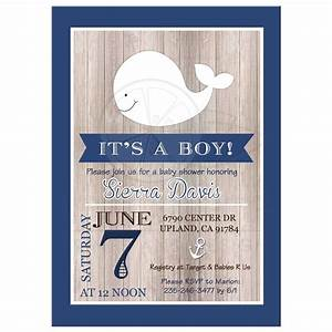 Rustic Nautical Whale White and Navy Baby Shower Invitation