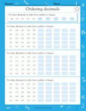 ordering decimals  ascending order worksheet grade