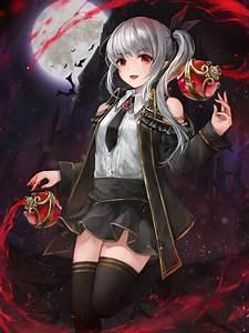 Wallpaper Anime Vampire Girl, Fang, Red Eyes, Gray Hair ...
