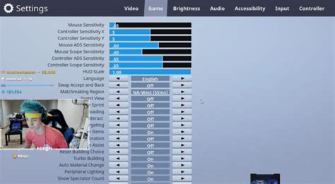 ninja fortnite settings  keybinds mouse sensitivity