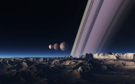 planet  rings   moons space engine wallpaper