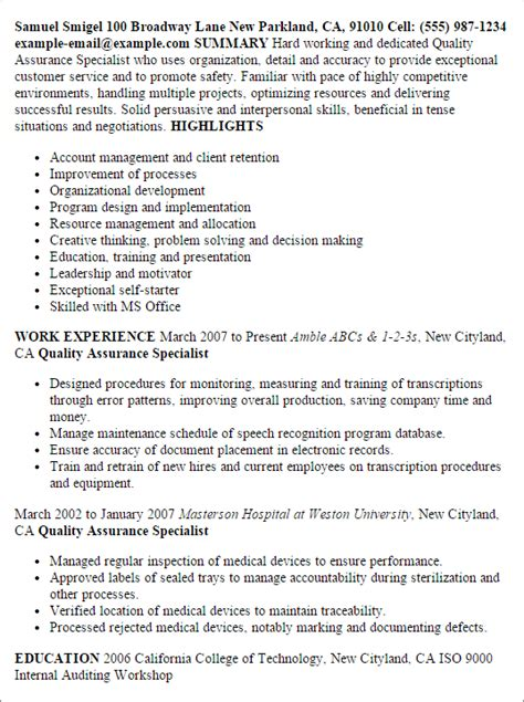 Resume Format For Quality Assurance by Professional Quality Assurance Specialist Templates To Showcase Your Talent Myperfectresume