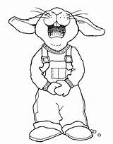 Overalls Easter Drawings Coloring Rabbit Drawing Mormon Bunny Outline Clipart Template Draw Colouring Animal Lds Animals Bunnies Digital Getdrawings Farmer sketch template