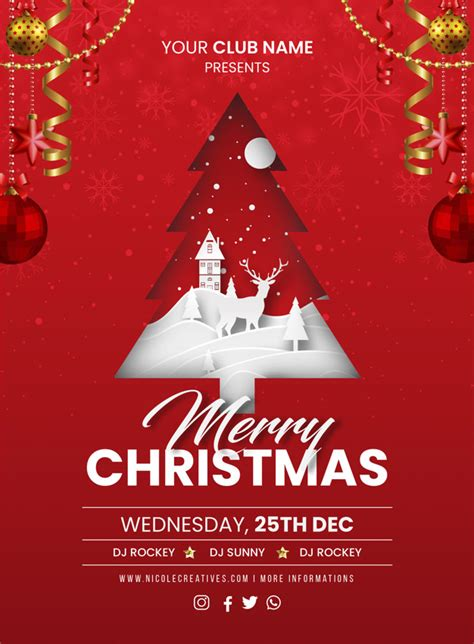 Merry christmas red party invitation card poster or flyer