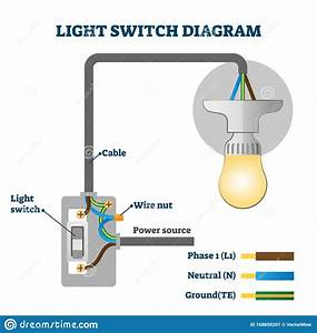 Light Switch Diagram Vector Illustration  Labeled Europe