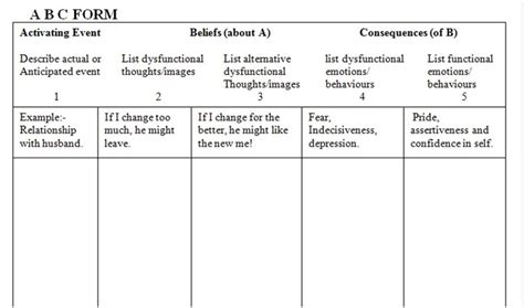 Collection Of Abc Worksheet Cognitive Processing Therapy  Download Them And Try To Solve