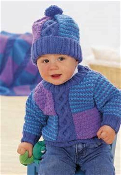 cable  blocks baby sweater  hat knitting pattern