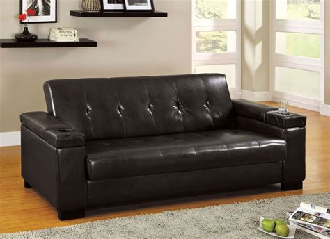 Logan Leatherette Futon Storage Sofa From Furniture Of