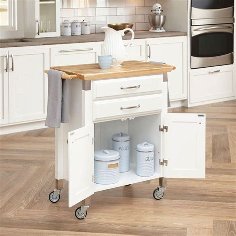 home styles dolly madison white kitchen cart  natural