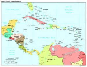 Central America Countries and Capitals Map