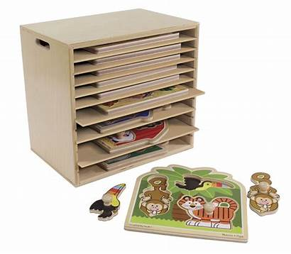 Puzzle Storage Wooden Rack Shelves Childcraft Puzzles