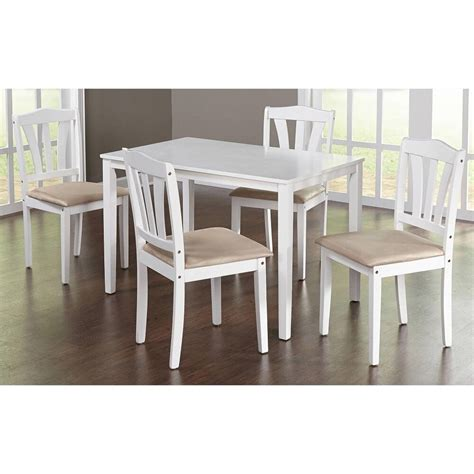 piece dining set kitchen table  upholstered chairs modern design wood white ebay