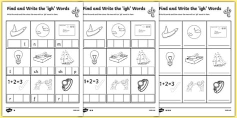 find and write the igh words differentiated worksheet