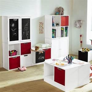Rangement Chambre Enfants : chambre enfants et rangements photo 7 15 biblioth que rouge et blanche ~ Melissatoandfro.com Idées de Décoration