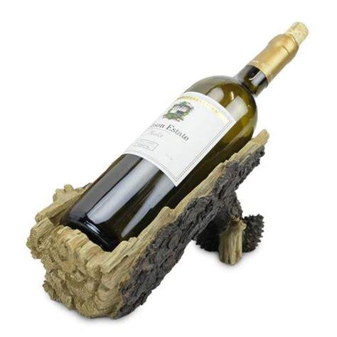 pine log wine bottle holder