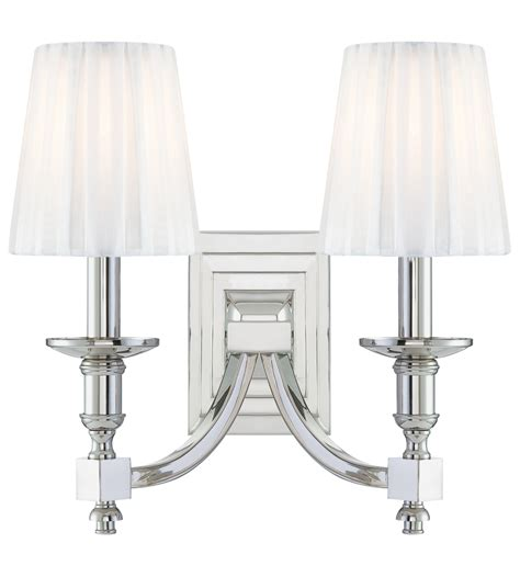 metropolitan lighting sconces metropolitan n2642 613 polished nickel 2 light wall sconce