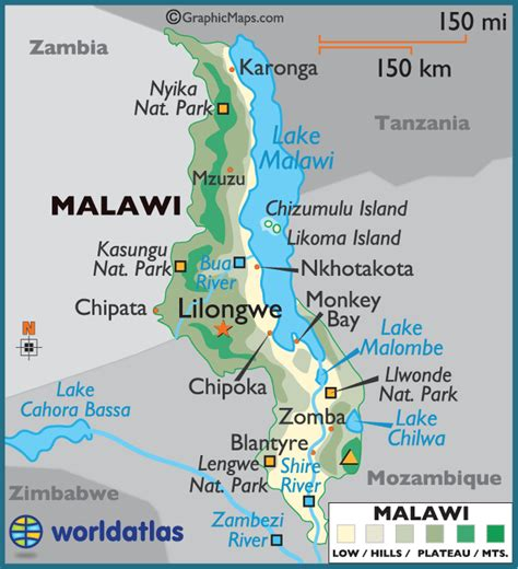 malawi large color map