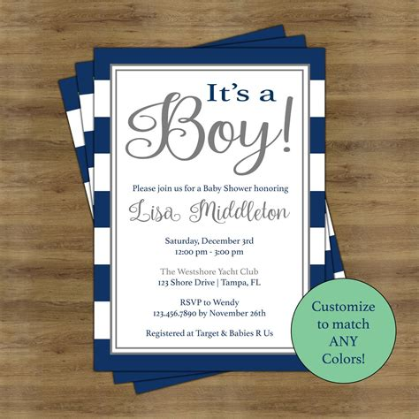 boy baby shower invitations  boys simple baby