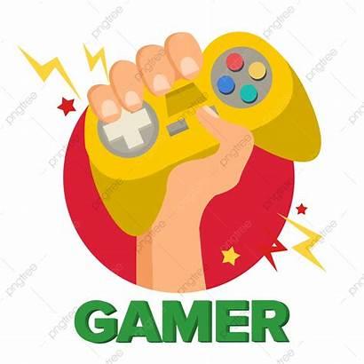 Console Gamer Vector Cartoon Controller Hand Joy