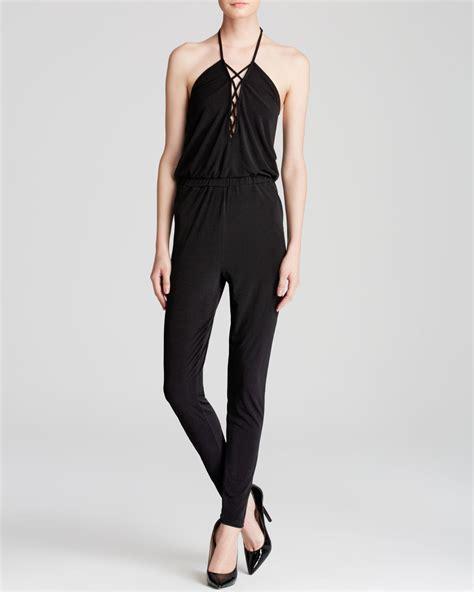 halter jumpsuits guess lace up halter jumpsuit in black lyst